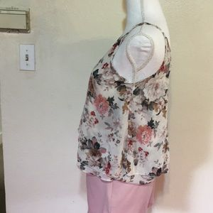 Tobi Tops - Layered floral chiffon top